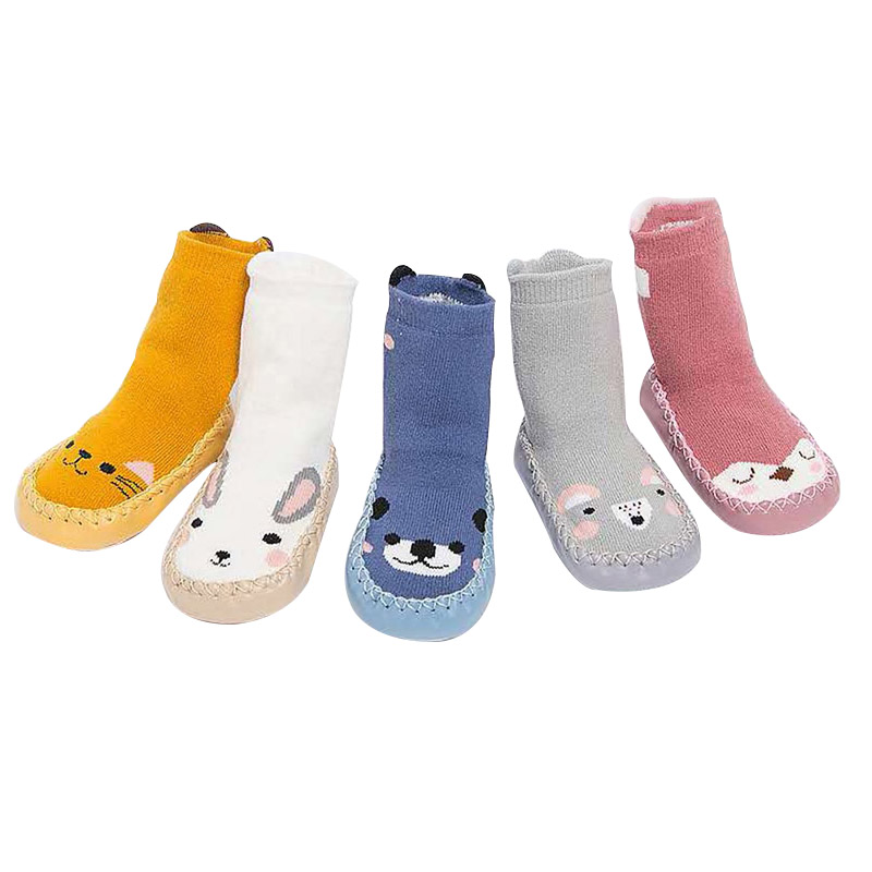 New Style Socks Slippers For Toddler Fashion Baby Girls Boys Cute Cartoon Animal Thick Warm Socks Kids Anti-Slip Socks Slippers