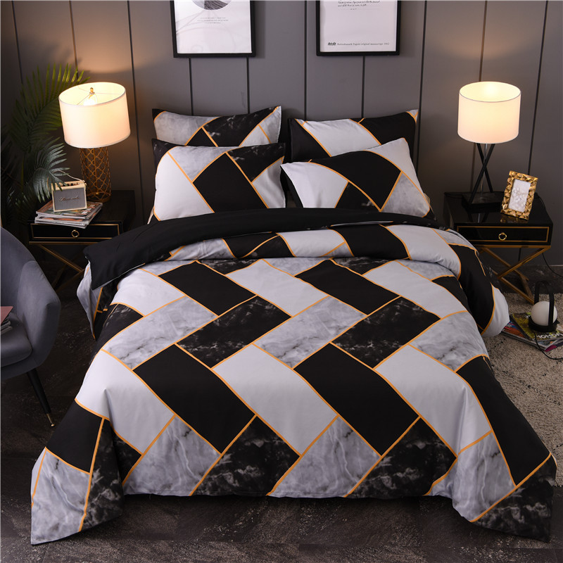 Geometric Stone Texture Printing Comforter Bedding Sets Nordic Style Bed Set Full Size Duvet Cover Set