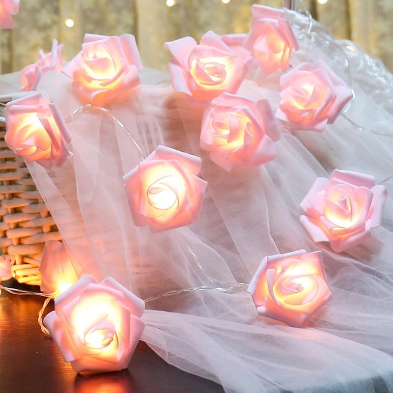 3M 30led LED Rose Christmas Lights Holiday String Lights Valentine's Day Wedding Decoration Flower Lamps LED Lamp