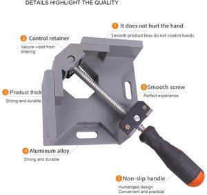 Image 3 - Алюминиевый угловой зажим AMKOY 90 градусов, прямоугольный зажим, инструмент, одна ручка, деревянные металлические сварочные зажимы, тиски для деревообработки, держатель