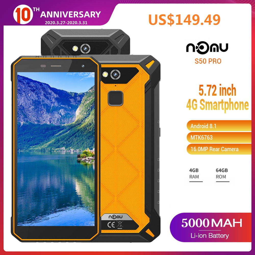 IP68 NOMU S10 PRO 4G Smartphone 5.0'' Android 7.0 MTK6737VWT Quad Core 1.5GHz 3GB 32GB 8.0MP Rear 5000mAh Waterproof Cellphones