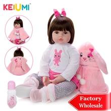 KEIUMI Очаровательная силиконовая кукла для новорожденной девочки 48 см, Очаровательная кукла для новорожденного кролика Boneca, одежда для малыша, накидка для детей на день рождения, Playmate