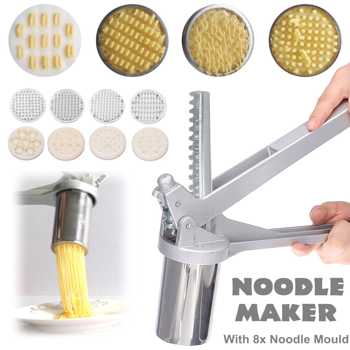 Stainless Steel Manual Noodle Maker Press Pasta Machine Crank Cutter Fruits Juicer Cookware With 8 Pressing Noodle Moulds Making image