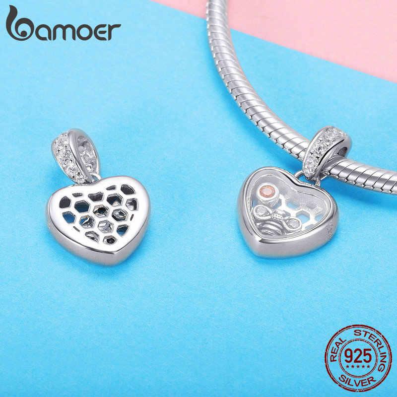 BAMOER otantik 925 ayar gümüş romantik aşk kalp kolye uçları fit DIY bilezikler & kolye kadınlar takı SCC1126