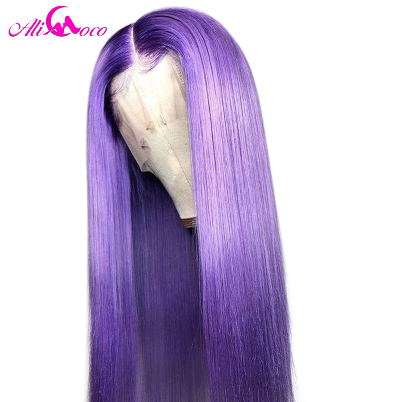 ALI Coco 150% Purple Human Hair Wig Brazilian Remy Straight Yellow Lace Front Wig Pink Red Light Bule Ombre Wigs For Women