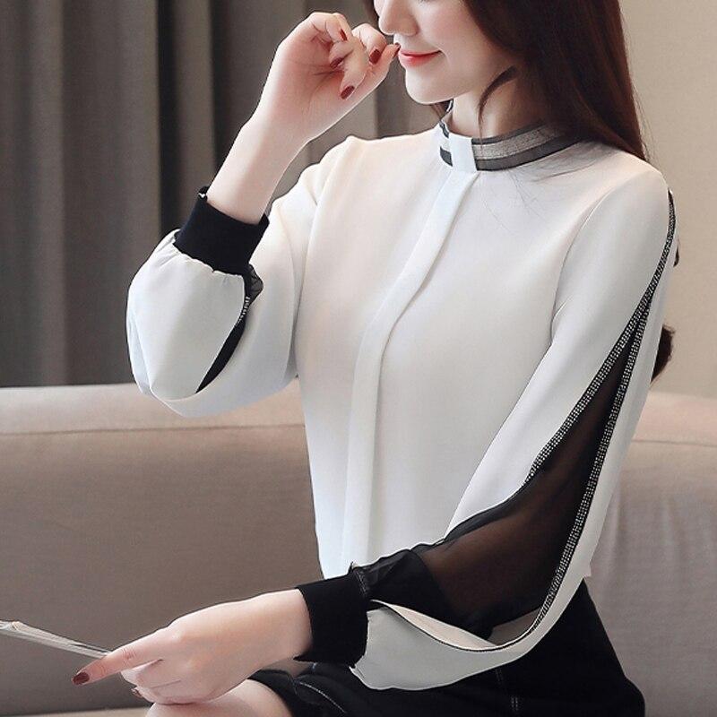 Blusa de chifón para mujer, novedad de 2020, sexi, informal, calada, de malla, camisa coreana, elegante, ceñida, con cuello levantado, Tops para mujer, blusa H34D
