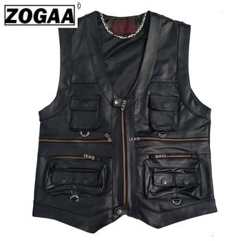 ZOGAA Multi Pocket Vest Men Black Photography Vests Genuine Leather Motorcycle Biker Waistcoat Male Autumn Sleeveless Jacket Men multi zippers genuine leather jacket women streetwear motorcycle 100