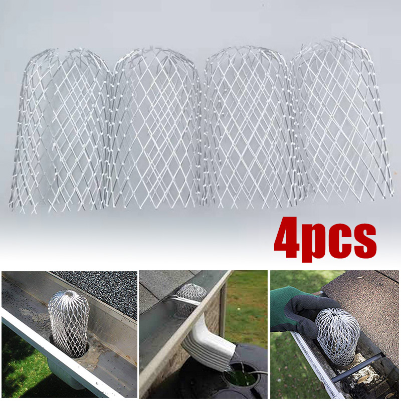4pcs/set Aluminum Alloy Roof Gutter Balloon Guard Filters Plastic Downpipe Stops Leaf Drains Rainwater Discharge Polypropylene