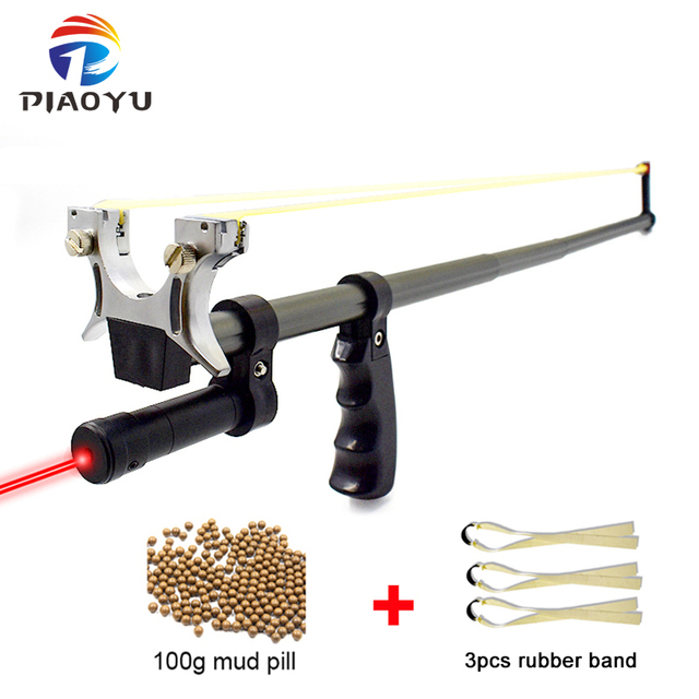 High Precision Telescopic Slingshot High Power Rubber Band Slingshots with Red Laser Stainless Steel Outdoor Hunting Catapult 1
