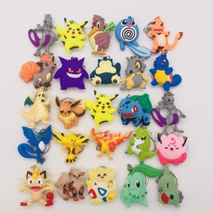 Anime Pokemon Go Keychain PVC Cartoon Doubel Side Pocket Monsters Pikachu Mewtwo Figure Key Chain Keyring Kids Cute Trinket Gift(China)