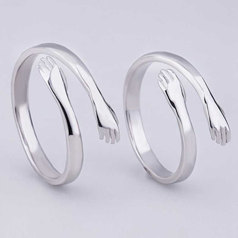 2019 Schattige Liefde Omhelzing Knuffel Hand Open Ring Voor Meisje Vrouw Mode Hoogwaardige Verstelbare Creative Staart Ring Sieraden Ontwerp gift