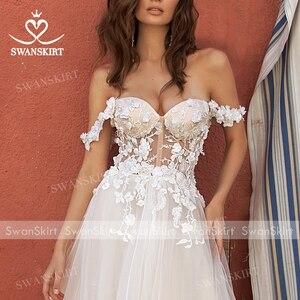 Image 4 - Người yêu 3D Hoa Áo Cưới 2020 VAI VOAN Chữ A Công Chúa Áo Dài Cô Dâu Swanskirt UZ40 Ảo Giác Đầm Vestido de Noiva