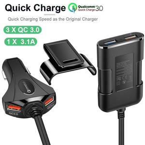 Image 1 - Ghế Hơi Tựa Lưng 4 Cổng USB Sạc Nhanh 3.0 Phía Trước Xe Hơi Di Động Sạc Cho iPhone Huawei 60W 12A Quadra Cổng USB Nhanh Sạc Điện Thoại