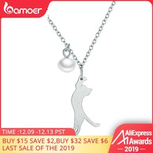 BAMOER Popular Real 100% 925 Sterling Silver Naughty Kitten Cat Women Pendant Necklaces Fashion Sterling Silver Jewelry SCN175(China)