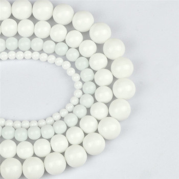 White Porcelain Natural Stone Beads 4/6/8/10mm Dull Polished Agates Smooth Round Beaded for Jewelry Making DIY Bracelet Necklace 1