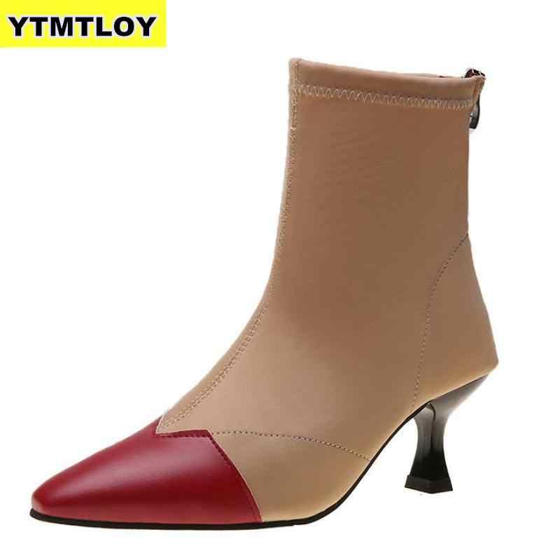 Размеры 35-42, женские носки до лодыжки, сапоги, модные осенне-зимние тянущиеся сапоги, 6 см шпильки, высокий каблук, острый носок, женская обувь, красный, черный