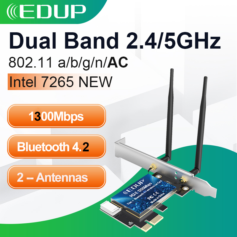 EDUP 1300M WiFi PCI Express Adapter Dual Band 5GHz/2.4GHz Wireless Bluetooth PCI-E Network Card Adapter for Desktop Win 10/8/7(China)
