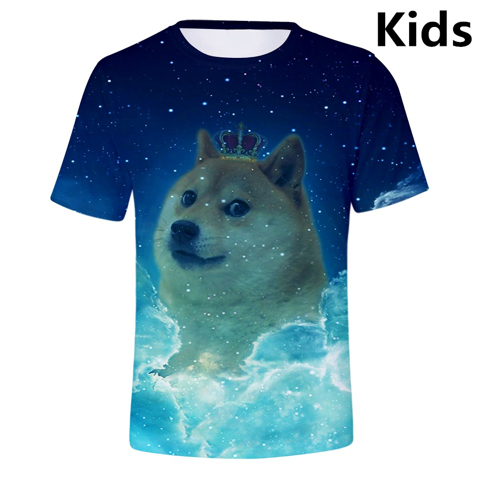 Kids Shiba Inu in The Snow O-Neck T Shirts for Fashion Children Boys Girls Tee Shirt