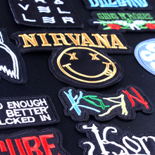 Nirvana Clothes Stripe Patch Stranger Things Embroidered Patche for Clothing Applique Iron On Patches Rock Band