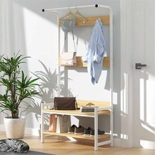 Hall-Tree-Entryway-Organizer-Storage-Shelf-Free-Standing 2-Tier Wood-Accent-with-Metal-Hooks-and-Frame-3-in-1-Design(China)
