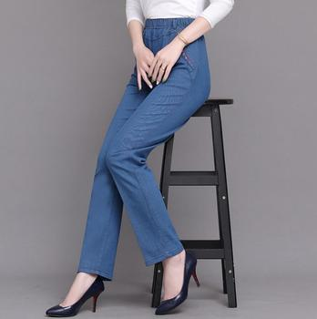 Plus size High waist jeans women Spring autumn Elastic waist loose straight Denim pants female casual pants r672 Straight Jeans