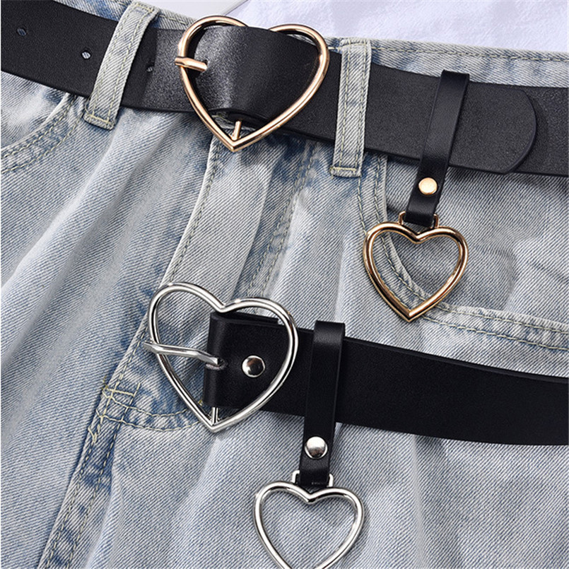 Women's Leather Belt Heart Metal Pin Buckle Retro PU Waistband Designer Fashion Cinto Feminino Pants Jacket Strap For Ladies