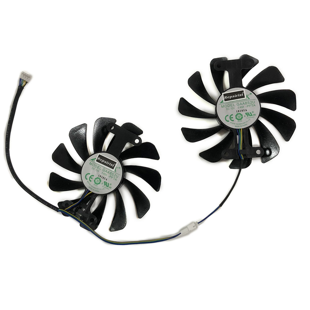 Купить с кэшбэком 2pcs/lot Video cards fan GTX1070 GPU Cooler For ZOTAC GeForce GTX 1070 AMP Edition Graphics Card cooling as Replacement