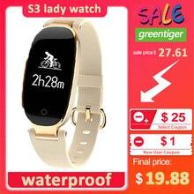 S3 artı akıllı saat renkli ekran su geçirmez kadınlar akıllı bant nabız monitörü Smartwatch relogio inteligente Android IOS için
