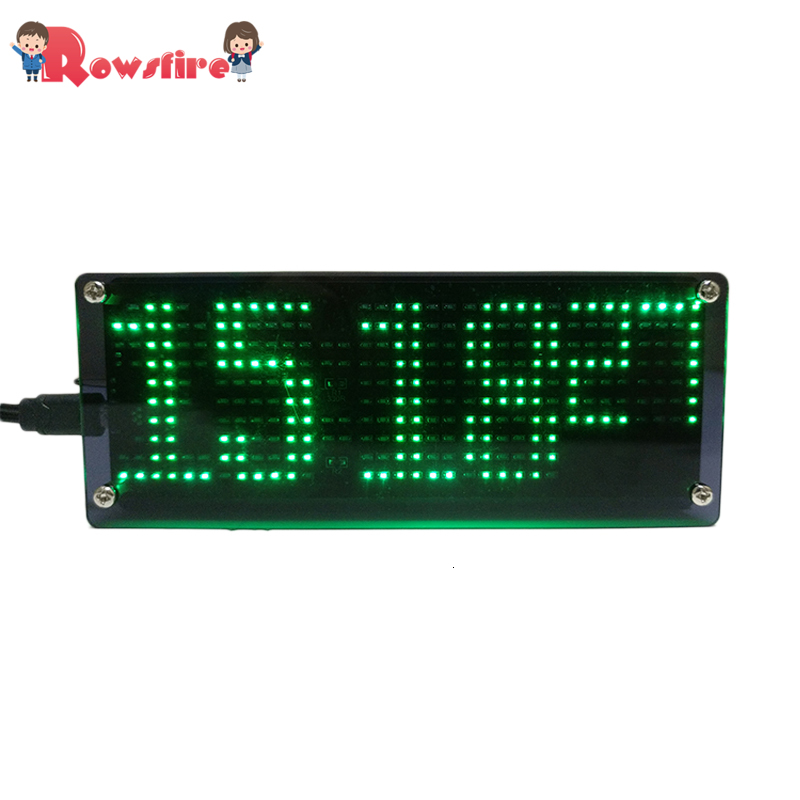 LED Dot Matrix Clock DIY Bulk Parts Welding Light Cube Kit (Green Bulk Parts + Power Line + Shell)
