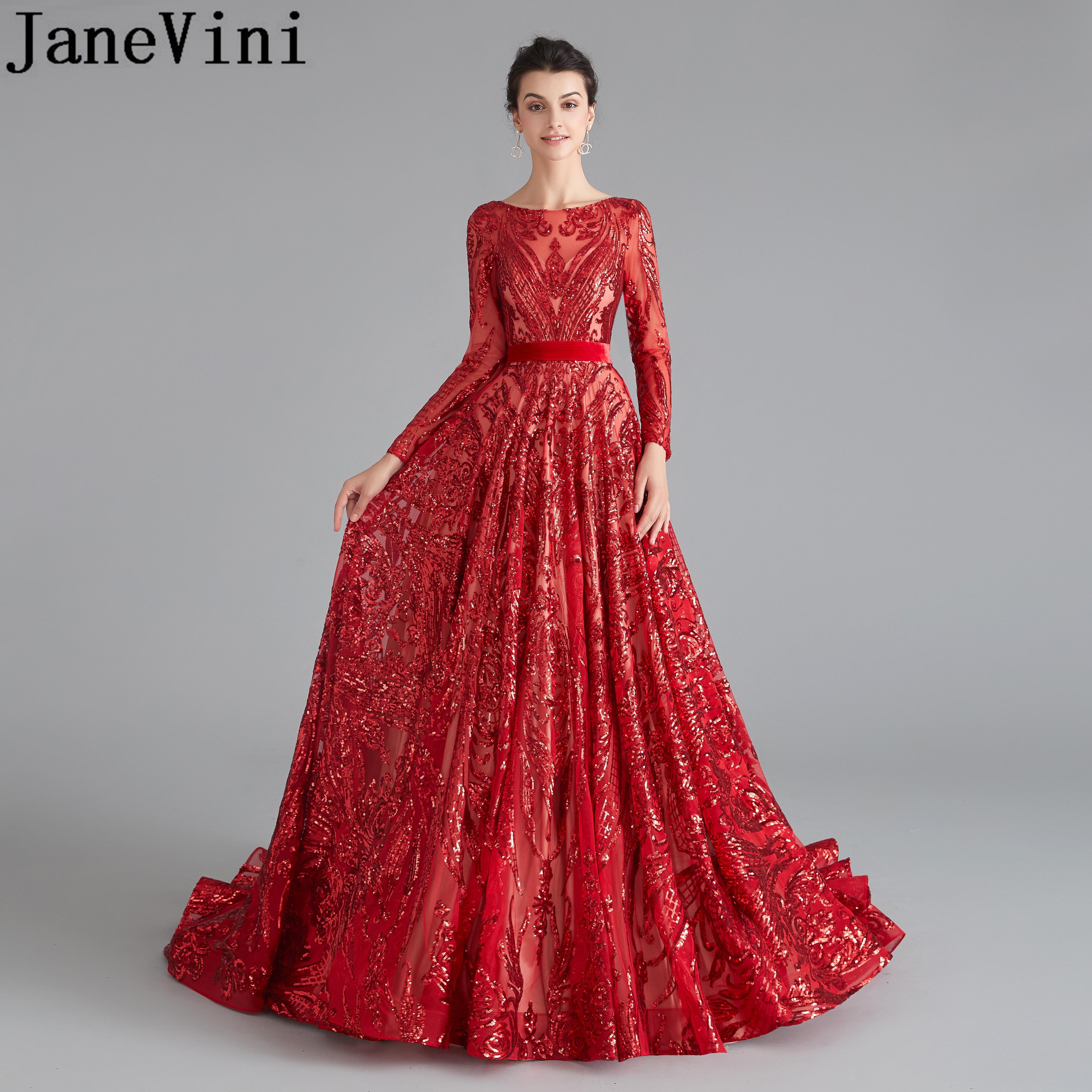 JaneVini arabe rouge soirée robes de bal 2019 Bling Bling paillettes robe de soirée de Gala Ballkleider Lang luxe dos ouvert femmes robe