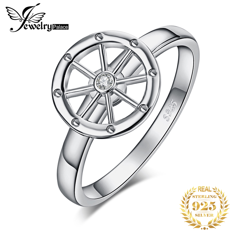JewelryPalace Ship Wheel Cubic Zirconia Promise Ring Genuine 925 Sterling Silver Gift For Women Trendy Fine Jewelry Hot Sale