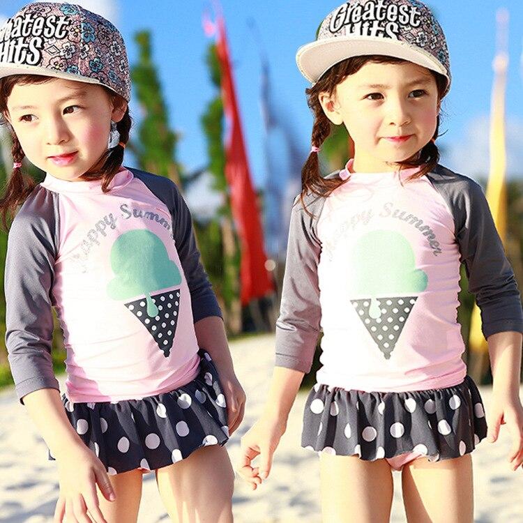 Korean-style CHILDREN'S Swimwear Girls Long Sleeve Sun-resistant Skirt Split Type Children GIRL'S Cute Princess Students Swimwea