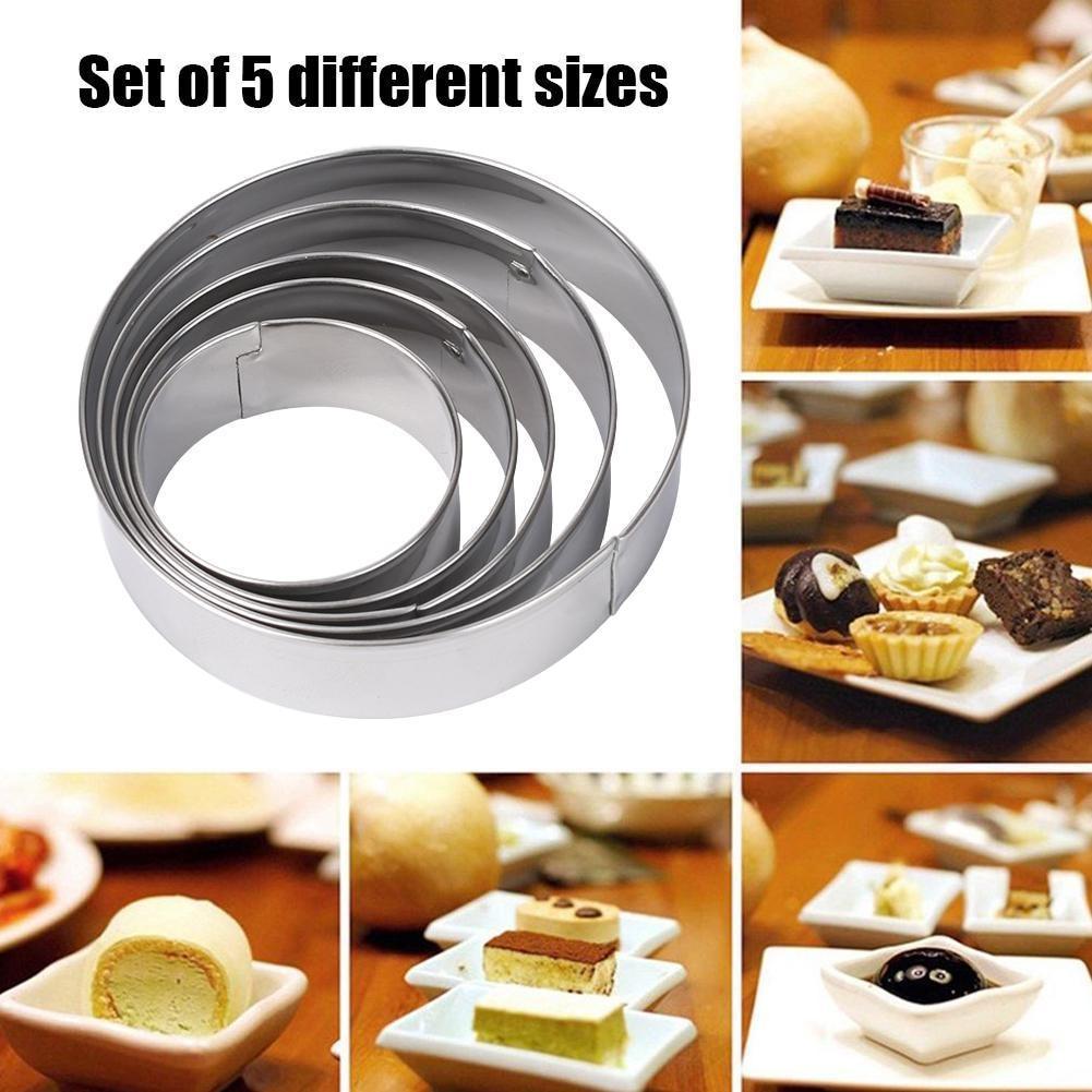 5Pcs Cake  Mold Aluminum Alloy Mini Round Food Pastry Ring Baking DIY Tools SET