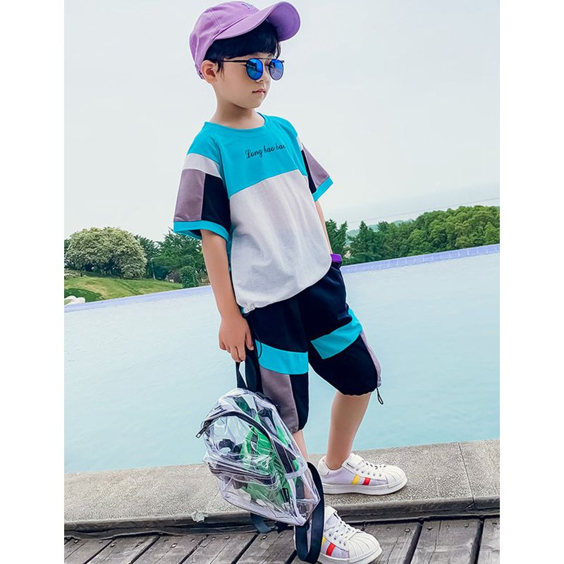Teen Boys Clothing Set Summer Tops Short Sleeve Children Kids Patchwork Suit Korean Teenage Set 4 5 6 7 8 9 10 11 12 13 14 Years