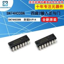 10 pçs/lote SN74HC08N Lógica Chip de Quatro-way Two-entrada E portão DIP14 Inline Novo e Original