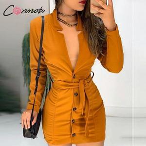 Image 1 - Conmoto חורף 2019 סקסי V שמלות נשים כפתור Bodycon מסיבת מועדון Feminino שמלת חלוק עניבת פרפר נשי בתוספת גודל שמלות vestidos