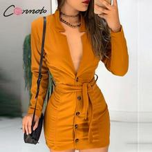 Conmoto Kış 2019 Seksi Derin v Elbiseler Kadınlar Düğme Bodycon Parti Kulübü Feminino Elbise Robe papyon Kadın Artı Boyutu Elbiseler Vestidos