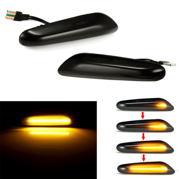 For BMW E90 E91 E92 E60 E61 E87 E82 E83 E84 E88 E46 Smoke Lens Sequential Flashing LED Turn Signal Side Marker Amber Indicator image