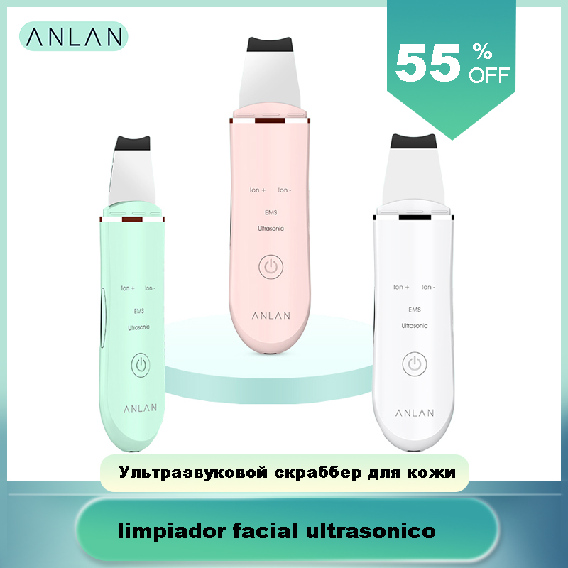 ANLAN Ultrasonic Skin Scrubber Deep Face Cleaning Machine Peeling Shovel Facial Pore Cleaner Face Skin Scrubber Lift Machine