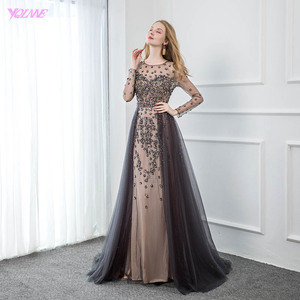 Image 4 - YQLNNE Elegant Gray Long Sleeve Evening Dress O Neck Beaded Tulle Formal Women Evening Gowns