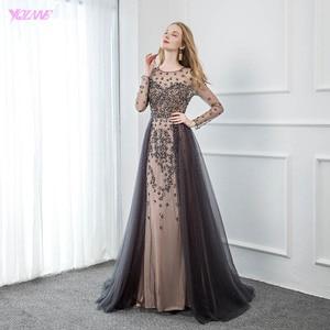 Image 4 - YQLNNE élégant gris à manches longues robe de soirée O cou perlé Tulle formel femmes robes de soirée