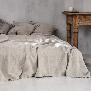 pure ston washed linen flat sheet 100% french linen(China)