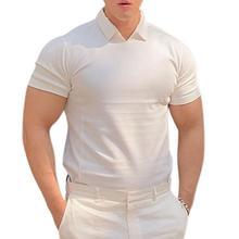 Поло рубашки с v-образным вырезом для кожи хлопок смесь +мужские рубашки для спорта