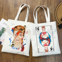David Bowie Vintage BlackStar Fashion Graphic Print Shopping Bags Girls Fashion Casual Pacakge Hand Bag