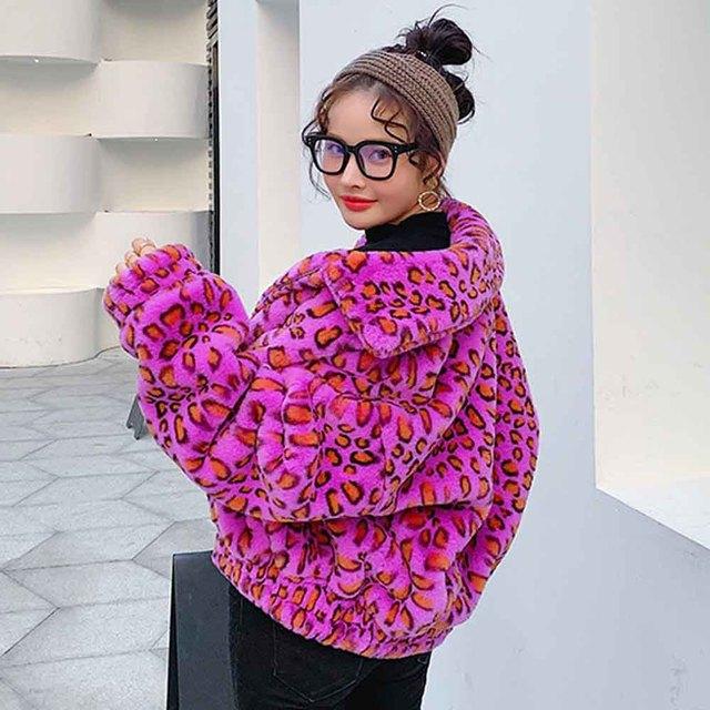 TXJRH 2019 Lapel Hairy Shaggy Colorful Purple Leopard Faux Rabbit Furry Fur Coat Long Sleeve Zipper Women Jacket Outerwear Tops