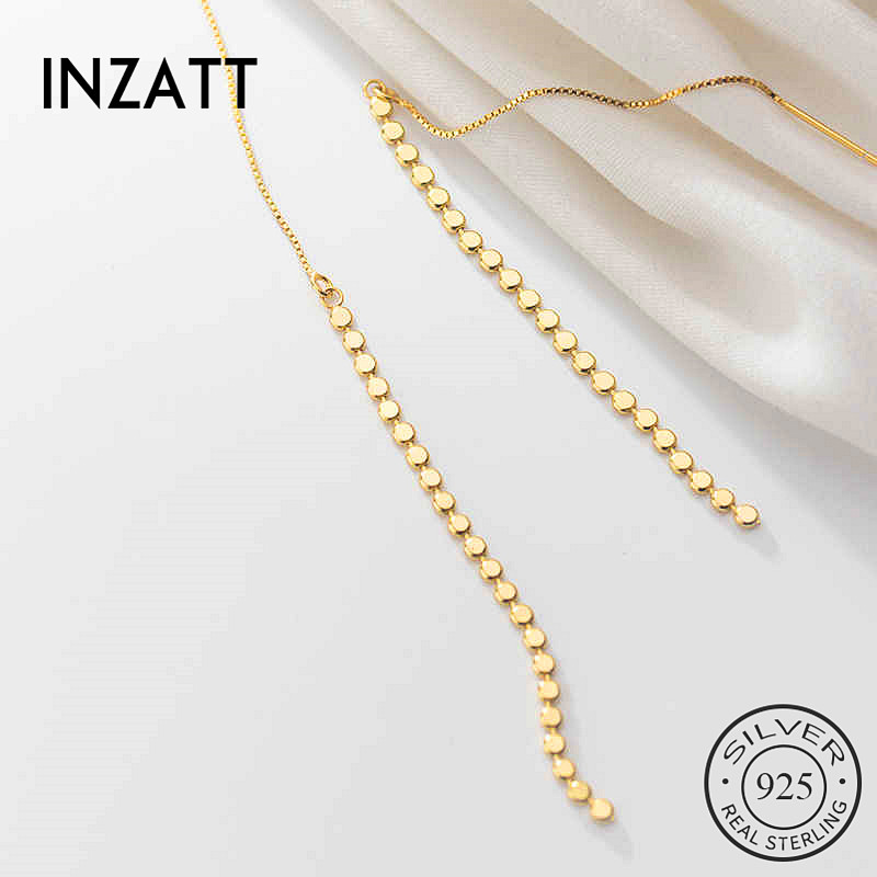 INZATT Real 925 Sterling Silver Tassel Round  Drop Earrings For Elegant Women Party  Fine Jewelry Geometry Accessories Gift