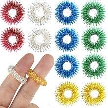 5 pçs spiky anel sensorial para massagem dedo mão acupressão massageador brinquedo fidget alívio do estresse circulação anéis