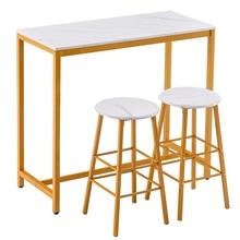 3pcs Marble Bar Sets 1* Table 2*Stools Wood Grain Simple Home Furniture Desk Chair Set Pub Living Room Kitchen Luxury White