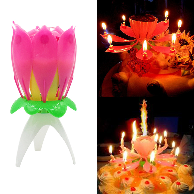 Romantic Musical Lotus Rotating Flower Happy Birthday Party Candle Lights