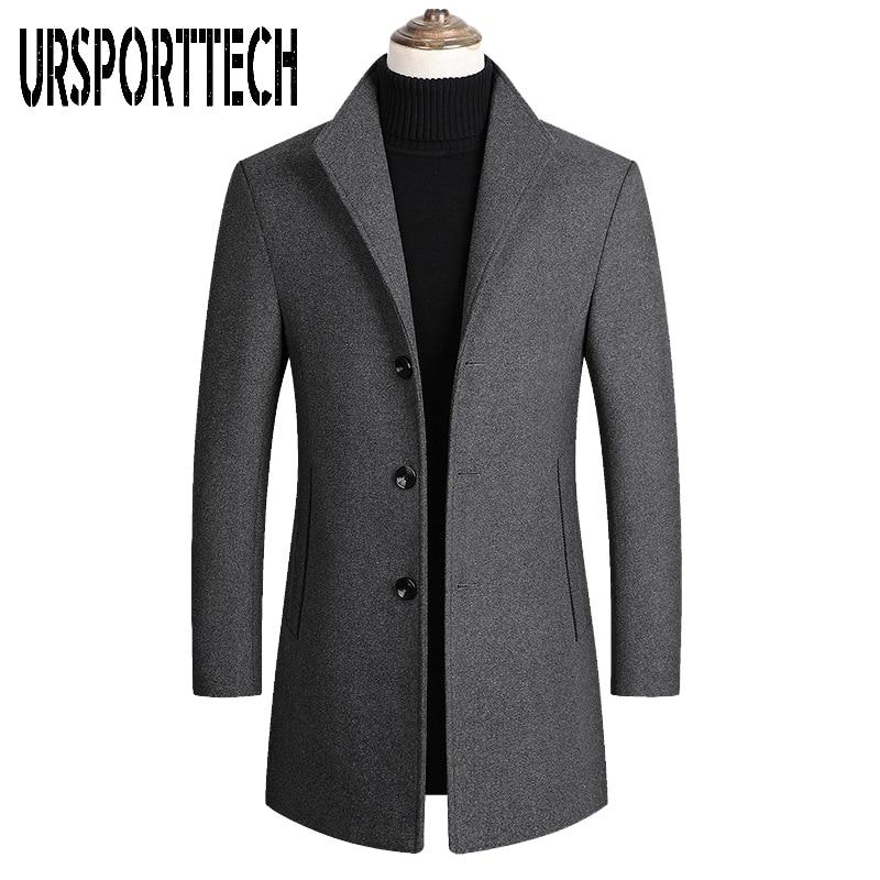 URSPORTTECH Mens Wool Blends Coats Autumn Winter New Solid Color High Quality Men's Wool Jacket Luxurious Wool Blends Coat Male